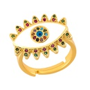 Stylish color copper inlay zircon devils eye ring NHAS155403