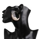 Cshaped metal earrings inlaid with pearl hoop earrings NHJJ155430