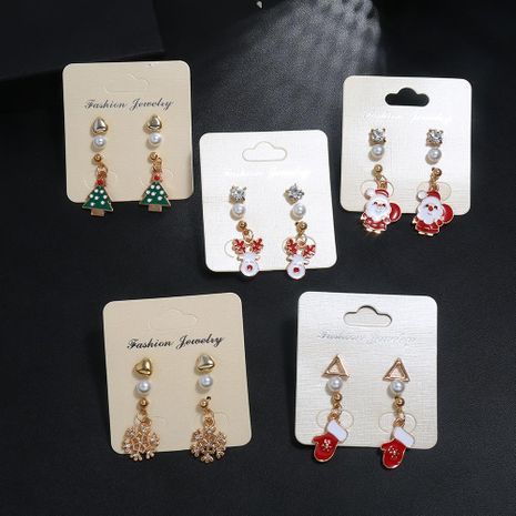 New cartoon fun snowflake Christmas tree earrings set NHNZ155466's discount tags