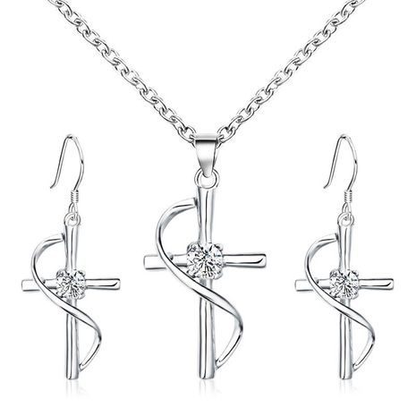 Fashion diamond cross necklace NHDP155467's discount tags