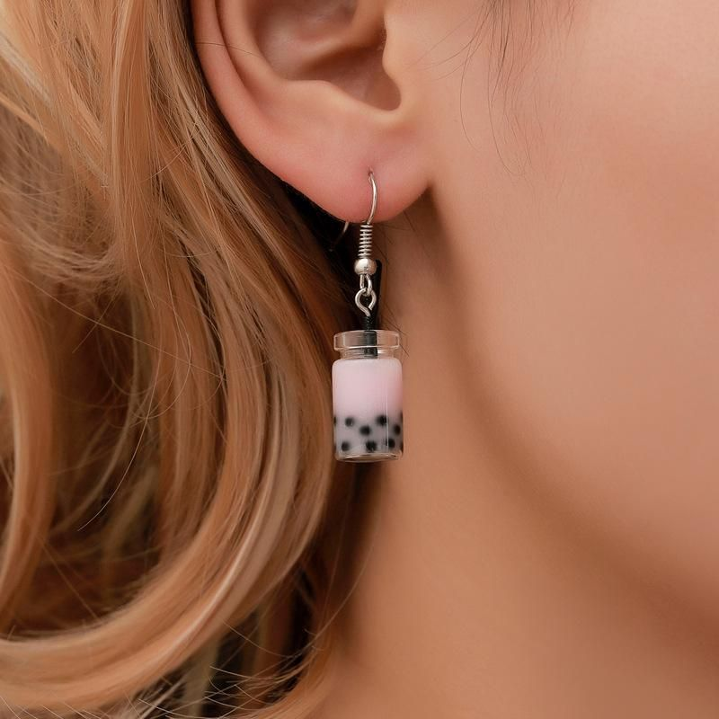 Simple pearl milk tea earrings NHDP155469