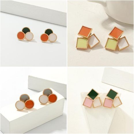Simple multi-color drop oil geometry alloy earrings NHNZ155470's discount tags