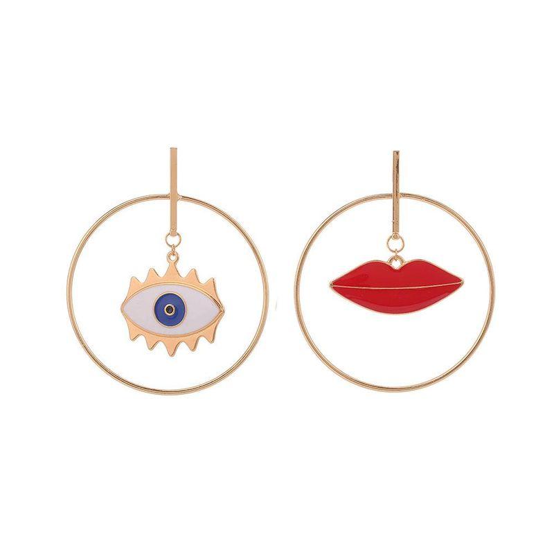 Retro dripping oil red lips devil's eye alloy earrings NHHN155471