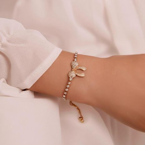 Fashion Diamond Bow Adjustable Bracelet NHDP155475's discount tags