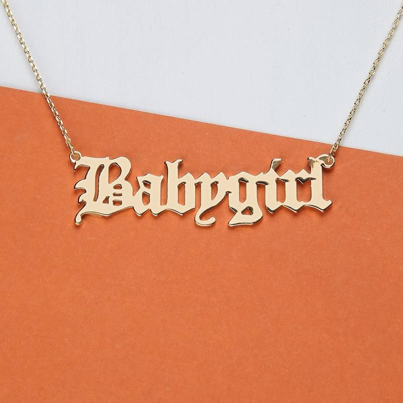 Alloy Babygirl Letter Necklace NHNZ155485