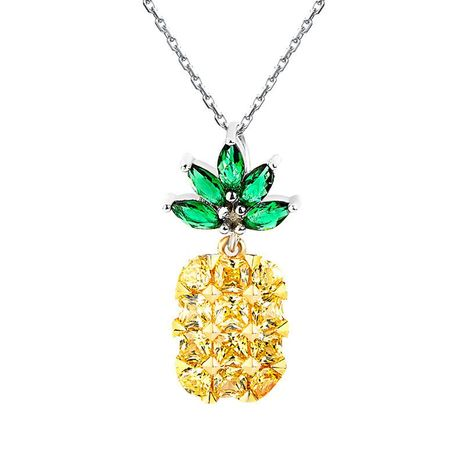 Cute pineapple with diamond necklace NHLL155493's discount tags