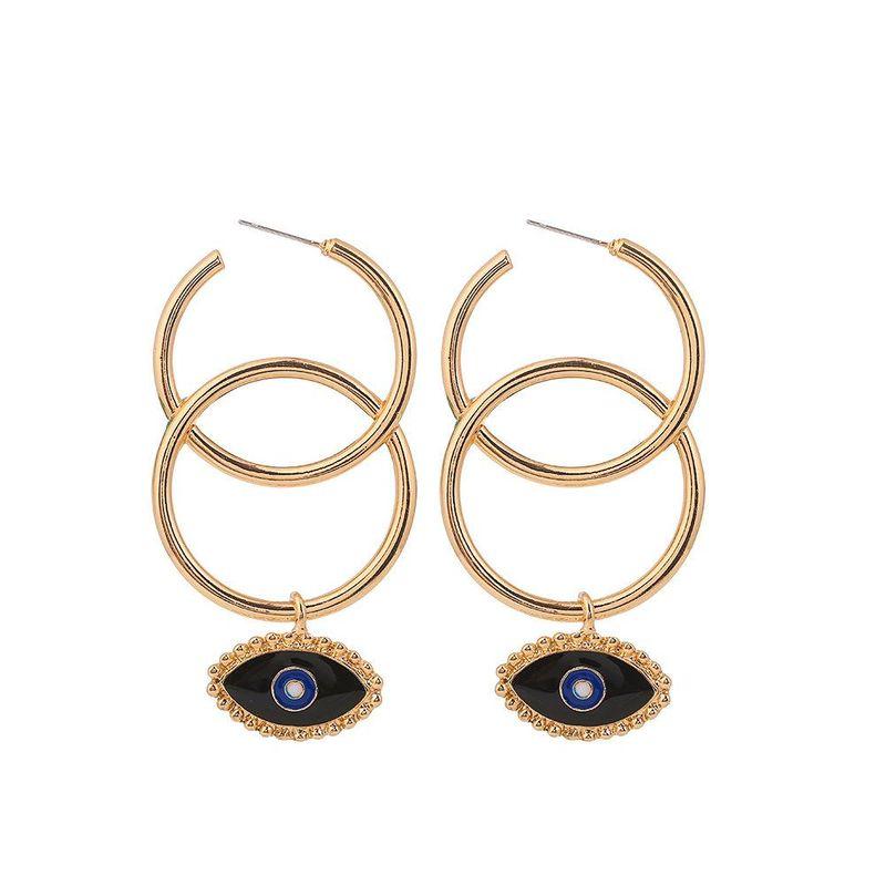 Geometric Circle Drop Oil Devil's Eye Earrings NHHN155495