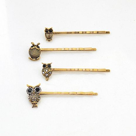 Alloy vintage diamond owl hair clip NHHN155497's discount tags