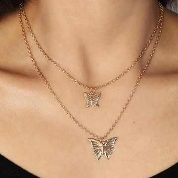 Exquisite double gold and silver butterfly necklace NHNZ155498