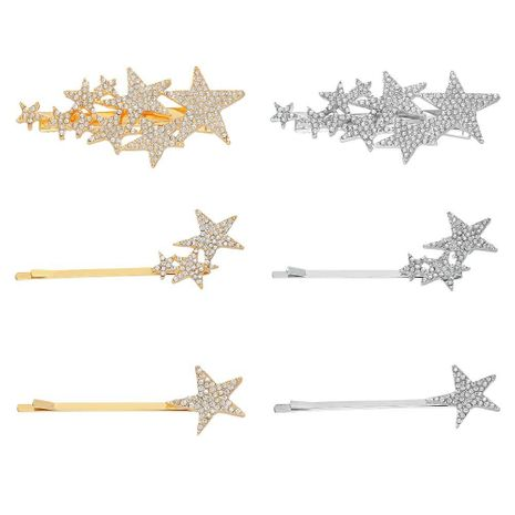 Alloy diamond five-pointed star hairpin flash diamond star hairpin NHHN155499's discount tags