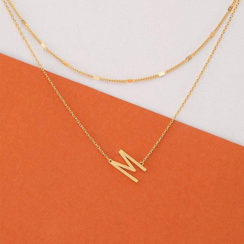 Simple capital letter M alloy necklace NHNZ155516