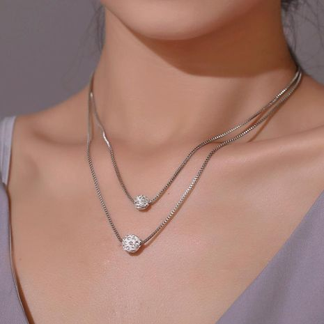 Full diamond ball alloy necklace NHDP155522's discount tags