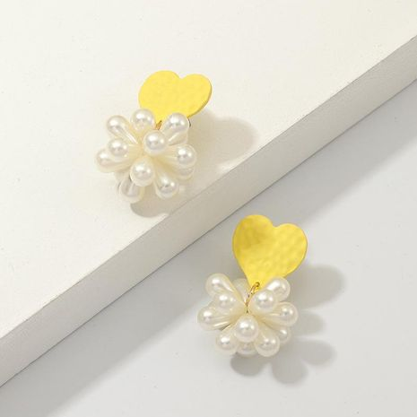 Yellow heart shaped pearl earrings NHNZ155530's discount tags