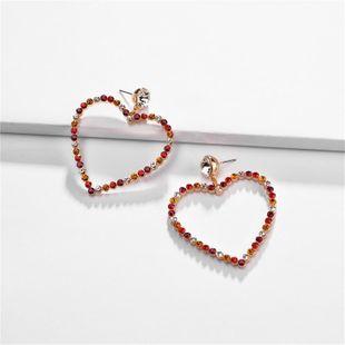 Alloy heart-shaped hollow diamond earrings NHLU155549's discount tags