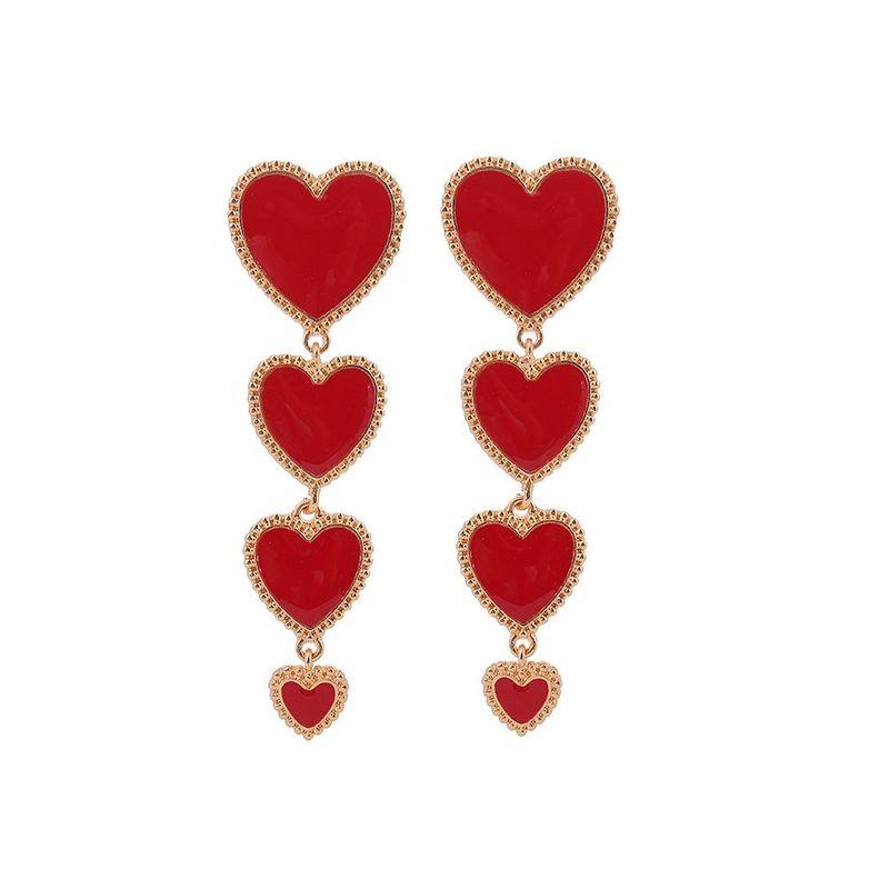 Vintage dripping red love long earrings NHHN155548