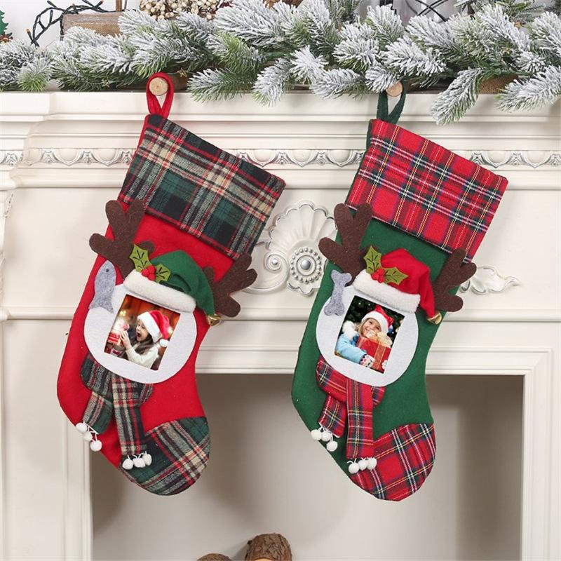 New Christmas stocking transparent photo frame decoration children's gift bag candy bag NHMV155565
