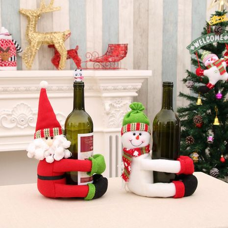 Christmas home decorations Santa snowman wine bottle set large bottle holder NHMV155566's discount tags