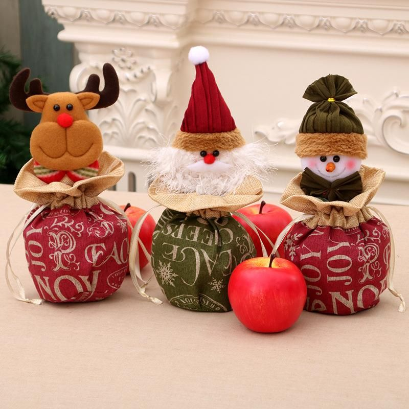 New large Christmas children gift bag linen closed apple bag NHMV155568