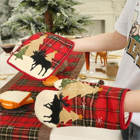 Christmas decoration plaid cloth insulation gloves microwave oven gloves NHMV155572's discount tags