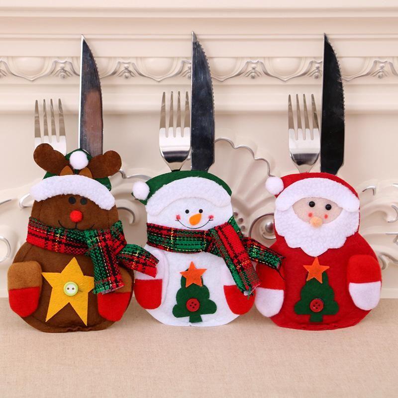 Christmas decoration new non-woven Santa Claus snowman cutlery bag NHMV155573