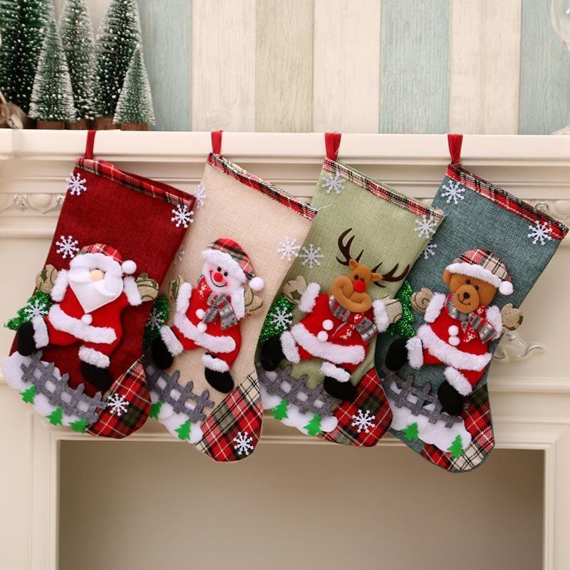 Linen large Christmas stockings ornament gift bag NHMV155578