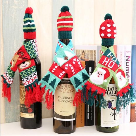 New Christmas bottle decoration Christmas scarf hat set NHMV155585's discount tags