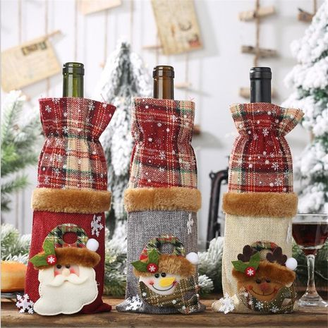 New Christmas decorations plaid linen bottle set NHMV155586's discount tags