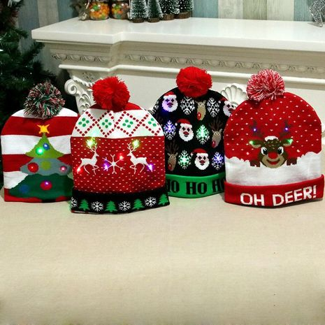 Christmas Decorations Adult Children's Glowing Knit Cap NHMV155588's discount tags