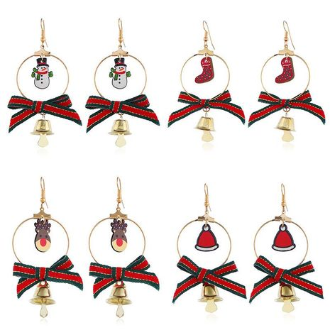 Christmas cartoon elk bell bow earrings NHNZ155590's discount tags
