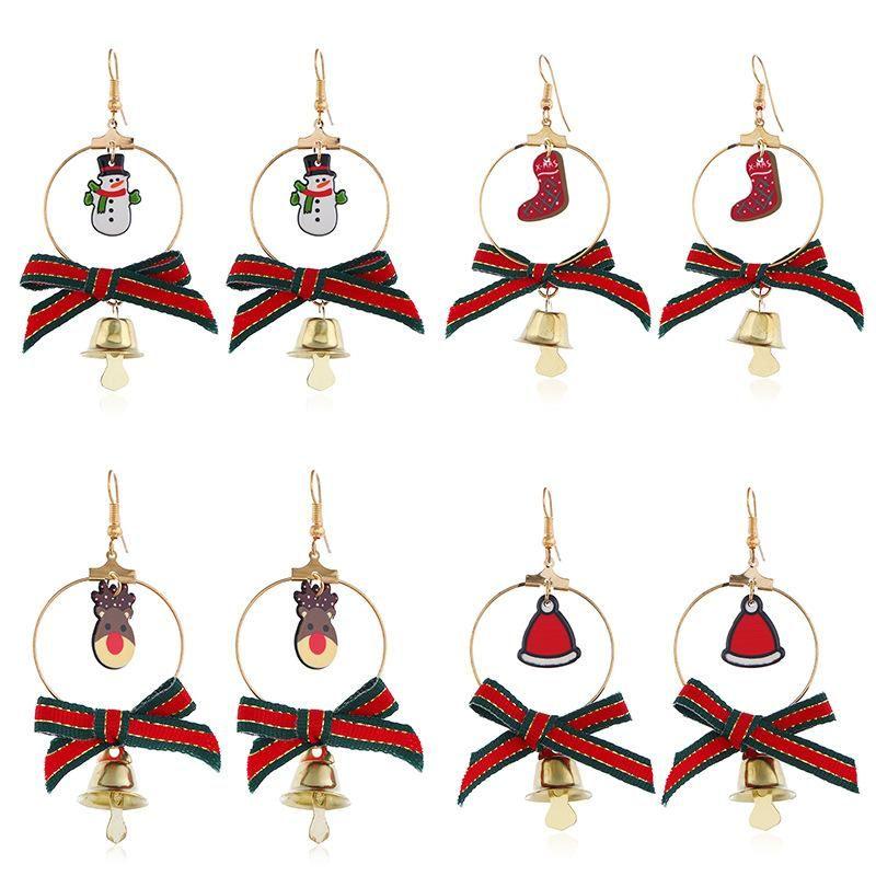 Christmas cartoon elk bell bow earrings NHNZ155590