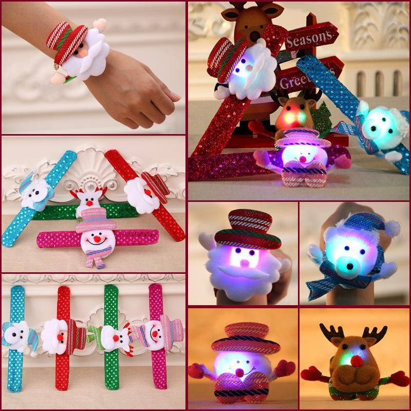 New Christmas children's gift sequins glow pat ring bracelet NHMV155598