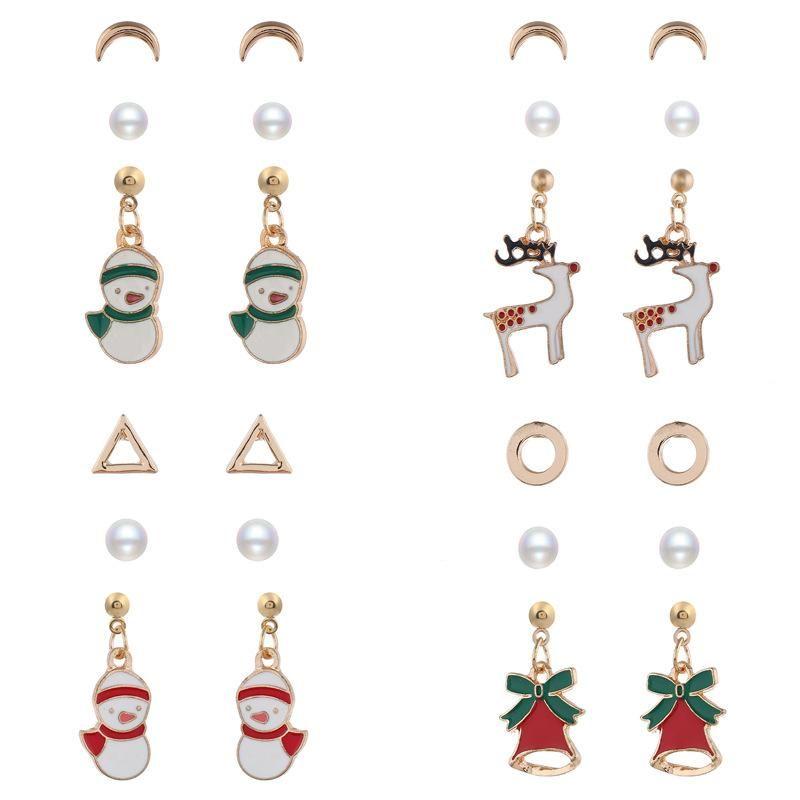 Cartoon Snowman Bells Alloy Drops Oil Christmas Earrings Set NHNZ155599