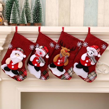 New cross-border medium size linen Christmas stockings gift bag NHMV155603's discount tags