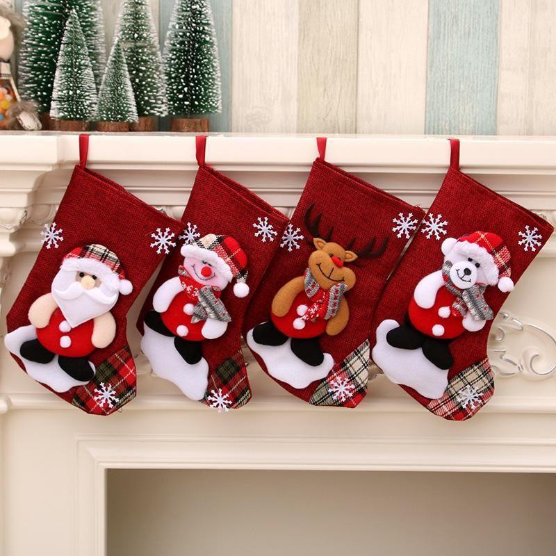 New cross-border medium size linen Christmas stockings gift bag NHMV155603