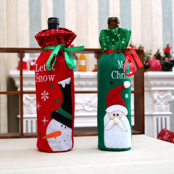 Christmas red wine bottle set supplies fairy wine bag NHMV155605