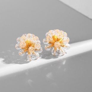 Vintage Crystal Flower Alloy Earrings NHLL149244's discount tags
