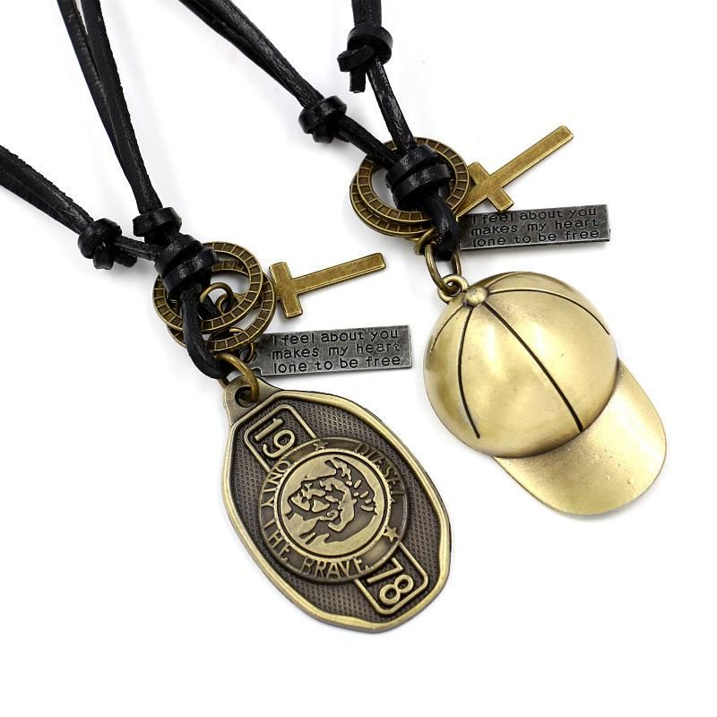 European and American leather leather rope alloy necklace NHHM149332
