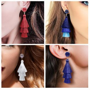 Vintage ethnic style crystal cluster gradient tassel earrings NHDP149395's discount tags