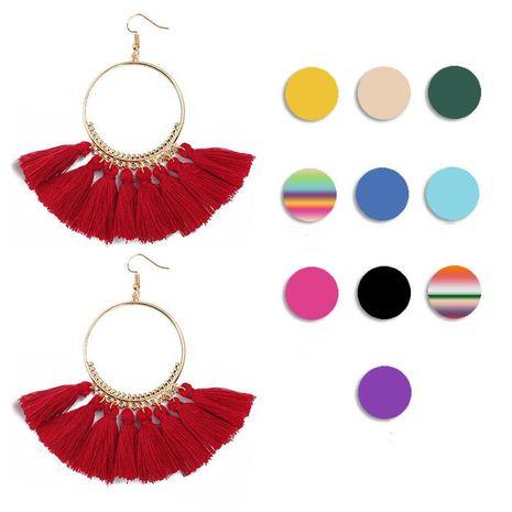 Boucles d'oreilles pompon rétro grand cercle mode NHDP149430's discount tags