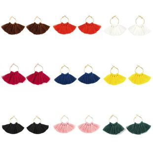 Fashion fan-shaped handmade tassel earrings NHDP149433's discount tags