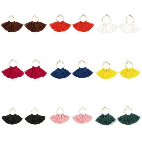 Fashion fan-shaped handmade tassel earrings NHDP149433's discount tags
