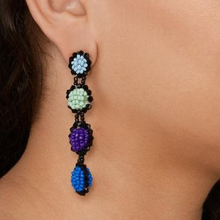 Vintage mixed color long hand-woven crystal ball earrings NHJQ149436's discount tags
