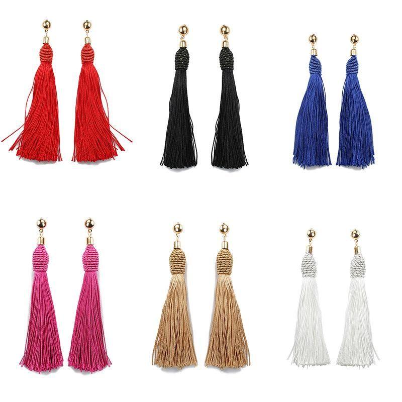 Fashion vintage hand-wound tassel long earrings NHDP149434