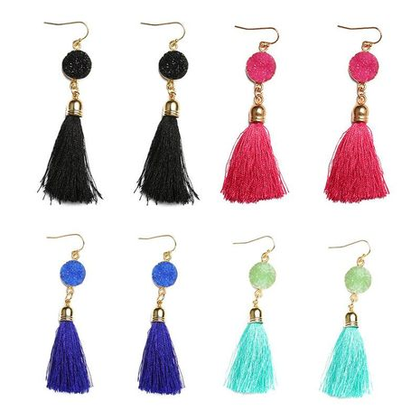 Fashion multi-color fringed resin earrings NHDP149440's discount tags