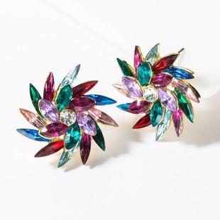 Fashion rhinestone flower full diamond stud earrings NHJE149457's discount tags
