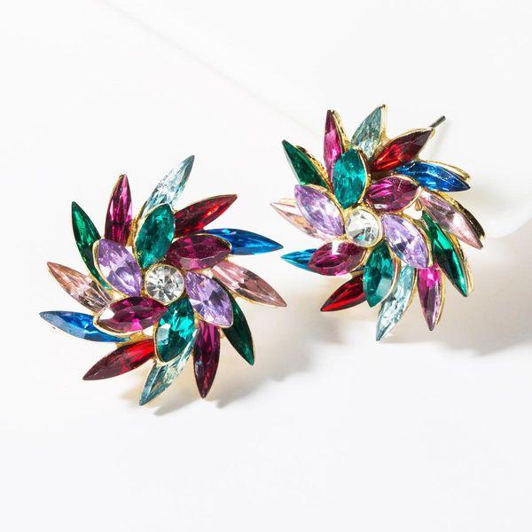 Aretes de diamantes de imitación de flores de diamantes de imitación de moda NHJE149457
