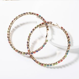Fashion color diamond big circle hoop earrings NHJE149465's discount tags