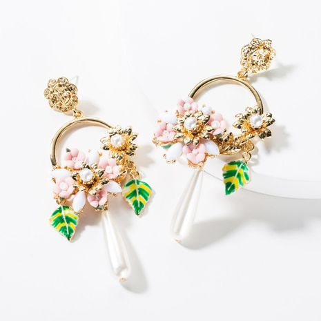 Fashion Alloy Drop Oil Leaf Resin Flower Pearl Earrings NHJE149468's discount tags
