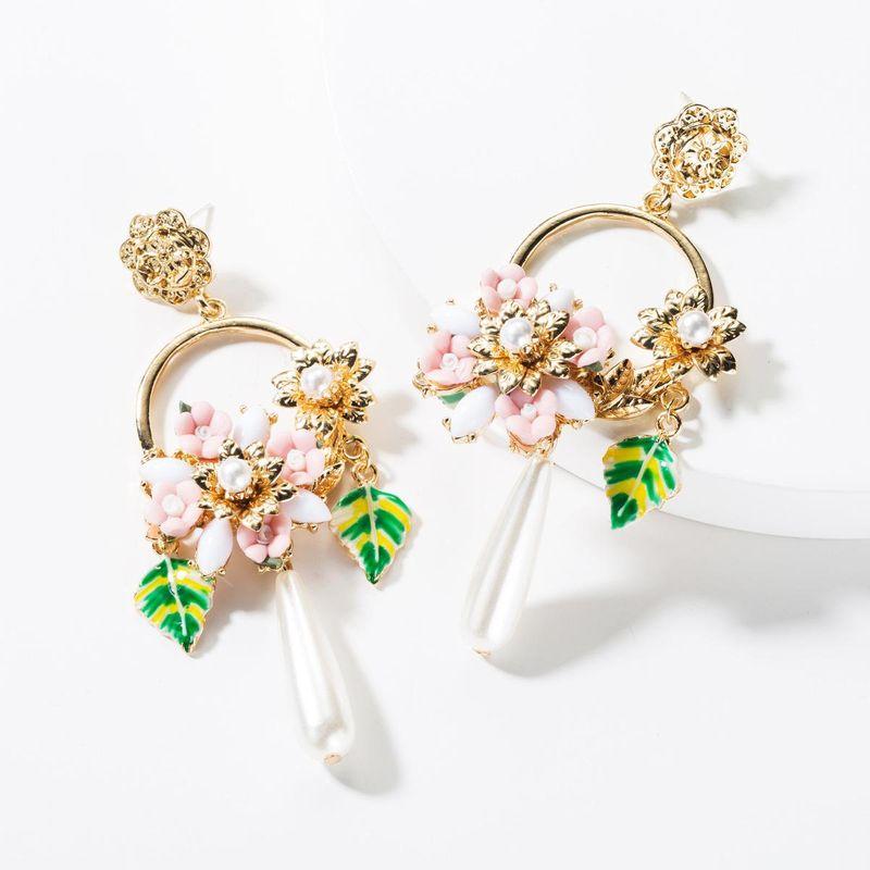 Fashion Alloy Drop Oil Leaf Resin Flower Pearl Earrings NHJE149468