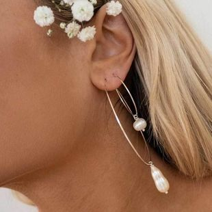 Fashion pearl alloy hoop earrings NHOT149469's discount tags